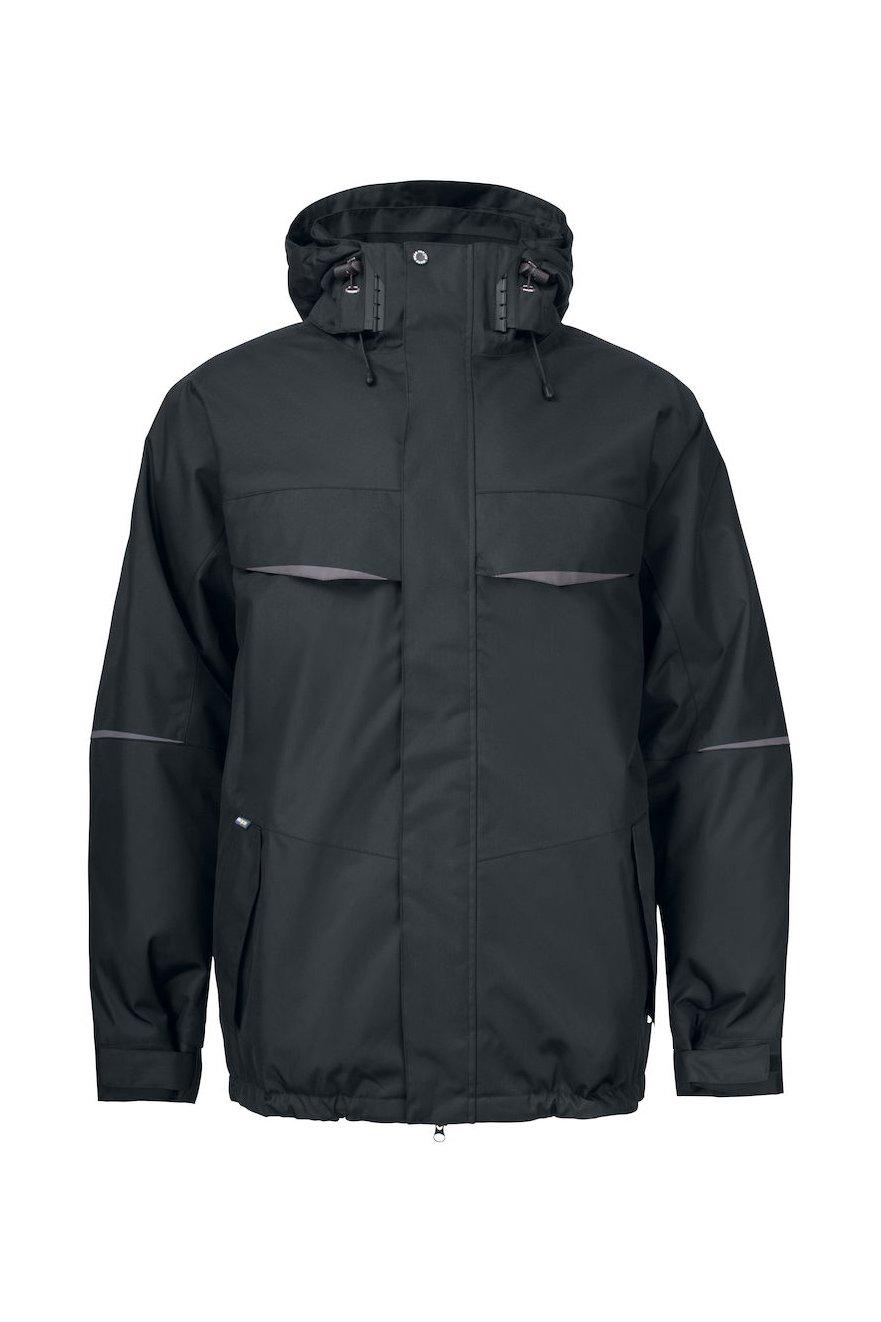 Wasser- und winddichte verlängerte Jacke, schwarz