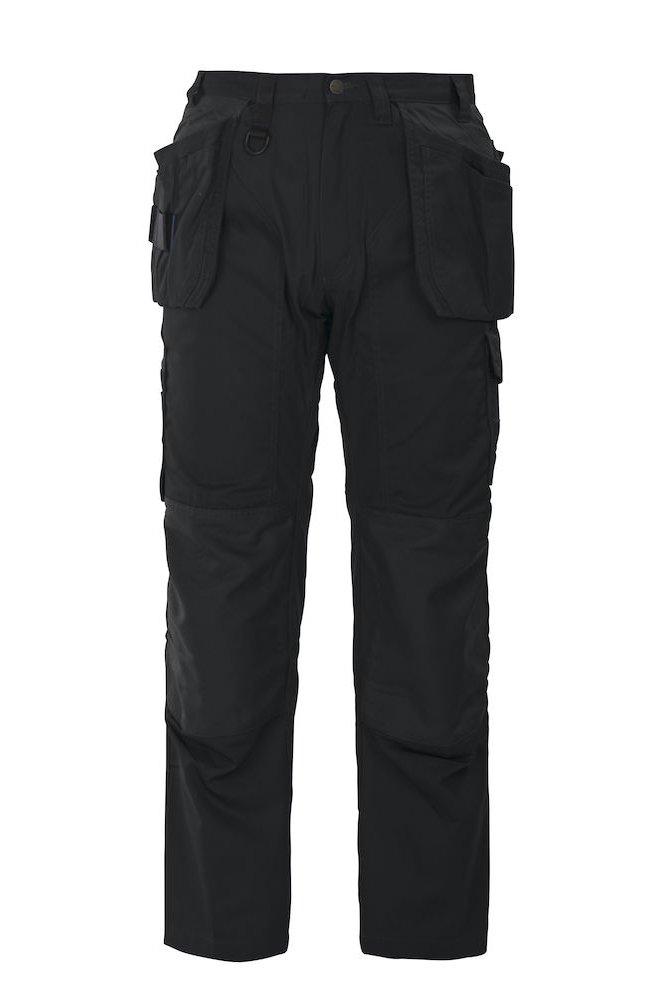Oberschenkelverstärkte Hose mit Knieverstärkung und Hängetaschen, schwarz
