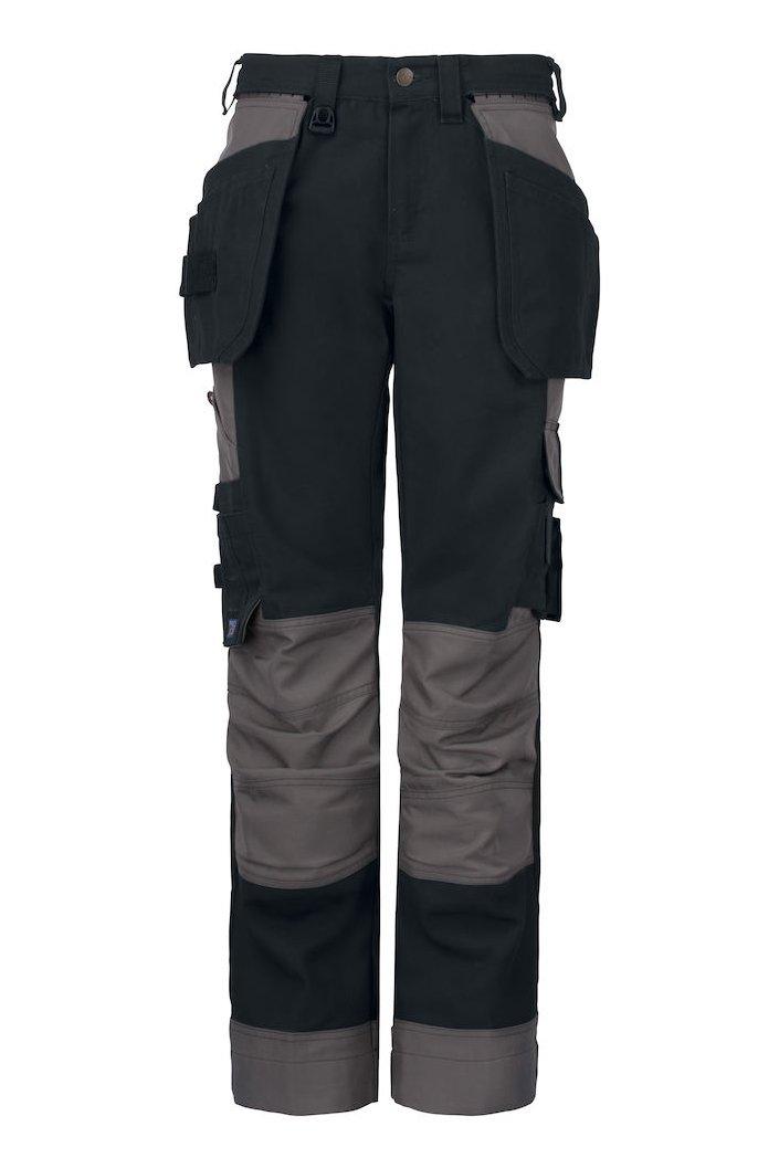 Damen-Arbeitshose mit Knieverstärkung und Hängetaschen, schwarz
