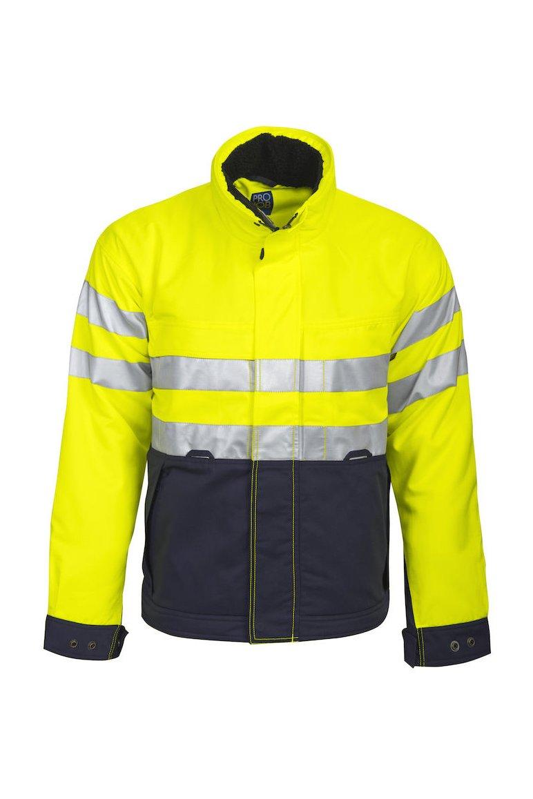 Gefütterte Jacke EN ISO 20471 Klasse 3, gelb/marineblau