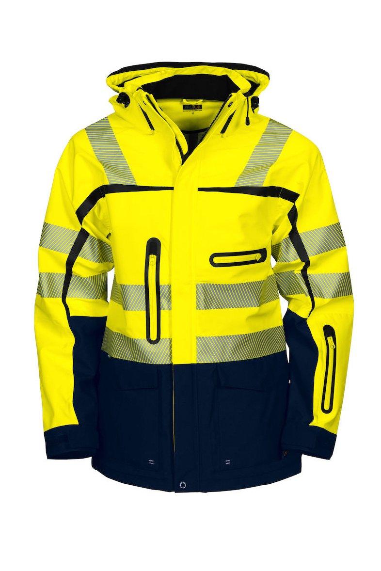 Wind- und wasserdichte 3-Lagen-Jacke EN ISO 20471 Klasse 3/2, gelb/marineblau