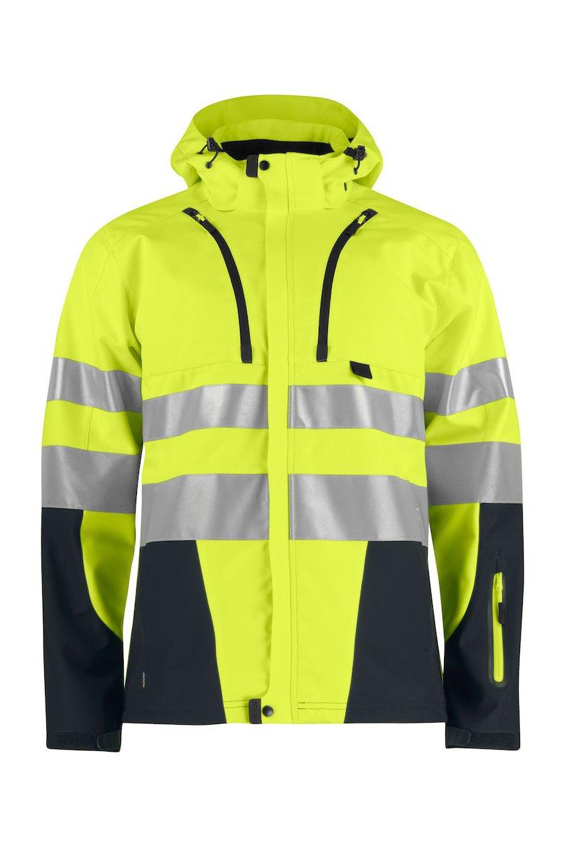 Funktionelle Softshell-Jacke EN ISO 20471 Klasse 2/3, orange/grau