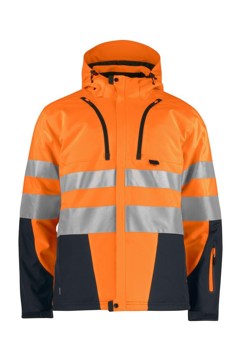 Gefütterte Softshell-Jacke EN ISO 20471 Klasse 2/3, orange/grau