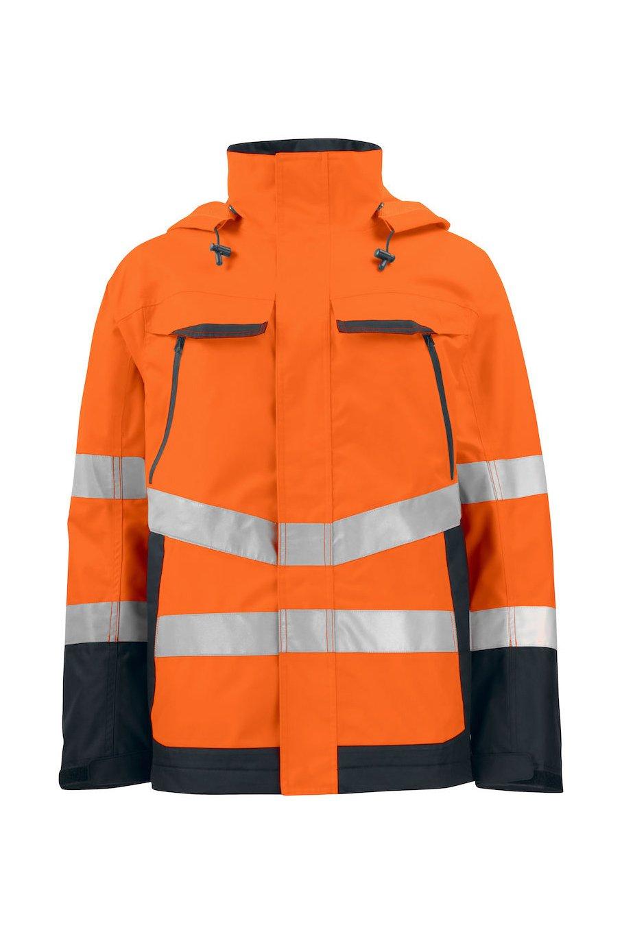 Wind- und wasserdichte Warnschutz-Jacke EN ISO 20471 Klasse 3, ISO 343, gelb/marineblau