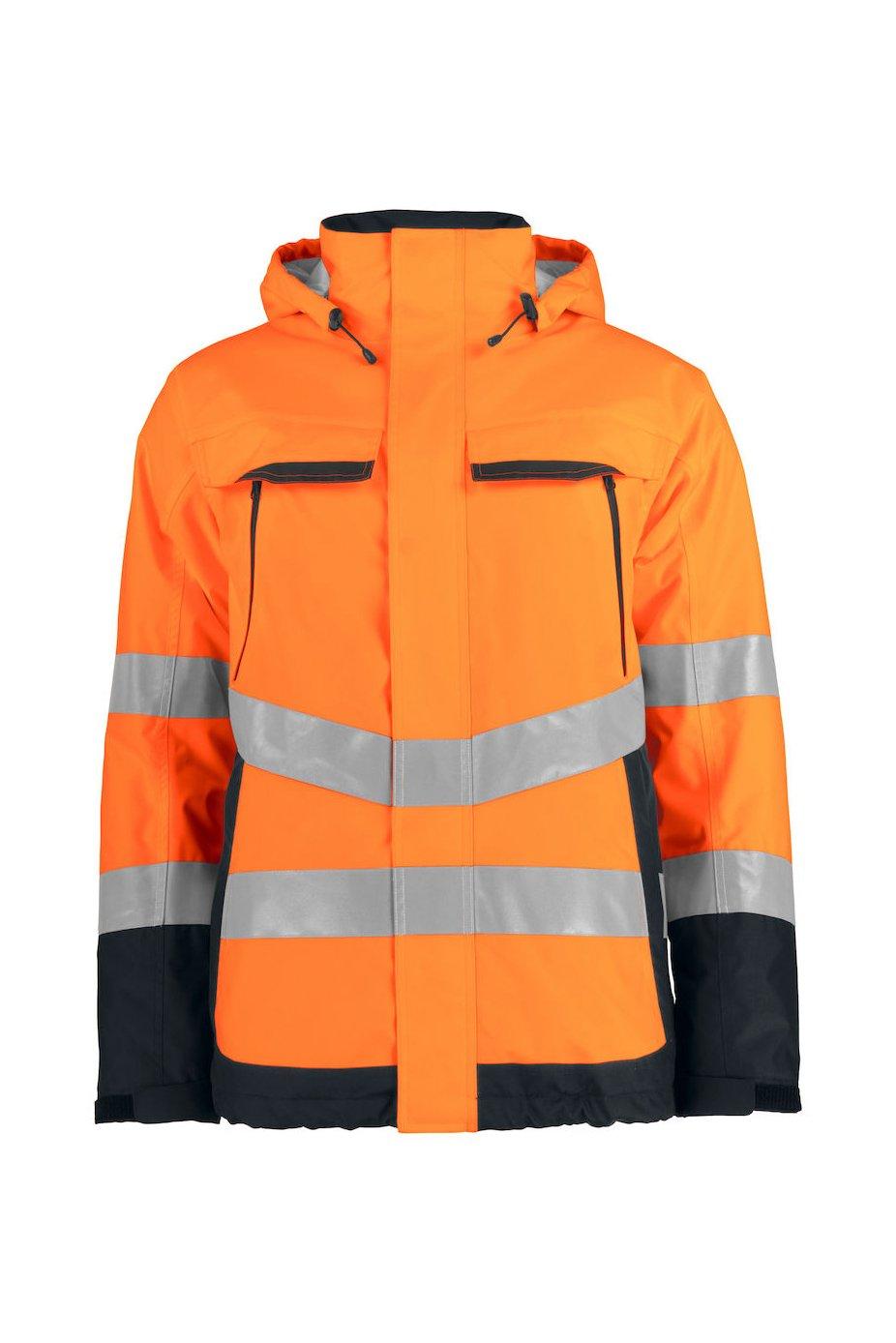 Gefütterte wind- und wasserdichte Warnschutz-Jacke EN ISO 20471 Klasse 3, ISO 343, gelb/marineblau