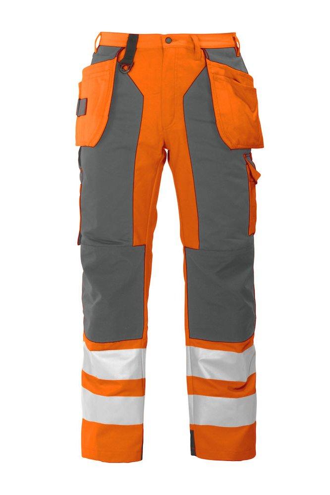 Arbeitshose mit Knieverstärkung und Hängetaschen EN ISO 20471 Klasse 2, orange/schwarz