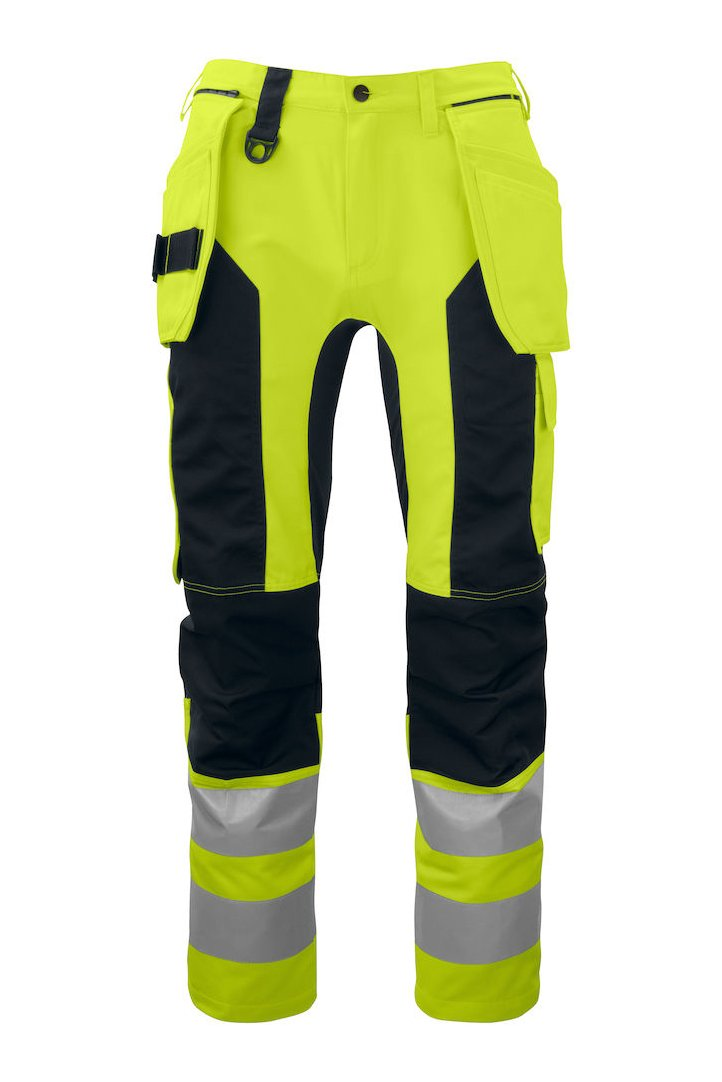 Arbeitshose mit Knieverstärkung und Hängetaschen EN ISO 20471 Klasse 2, gelb/schwarz
