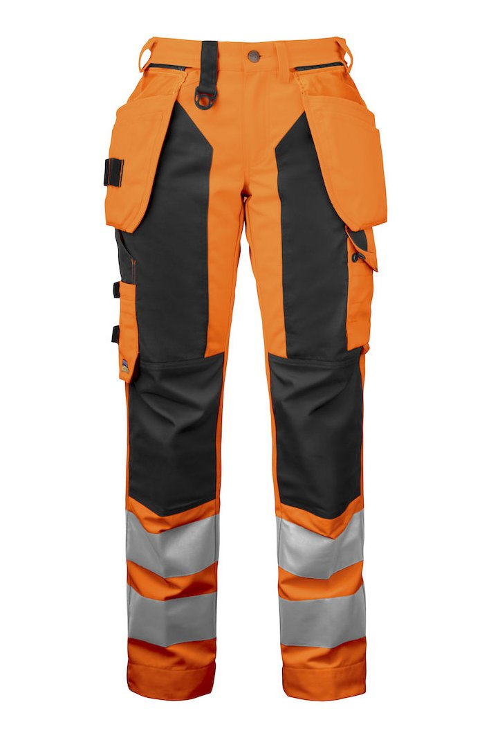 Damen-Arbeitshose mit Knieverstärkung und Hängetaschen EN ISO 20471 Klasse 2, gelb/schwarz