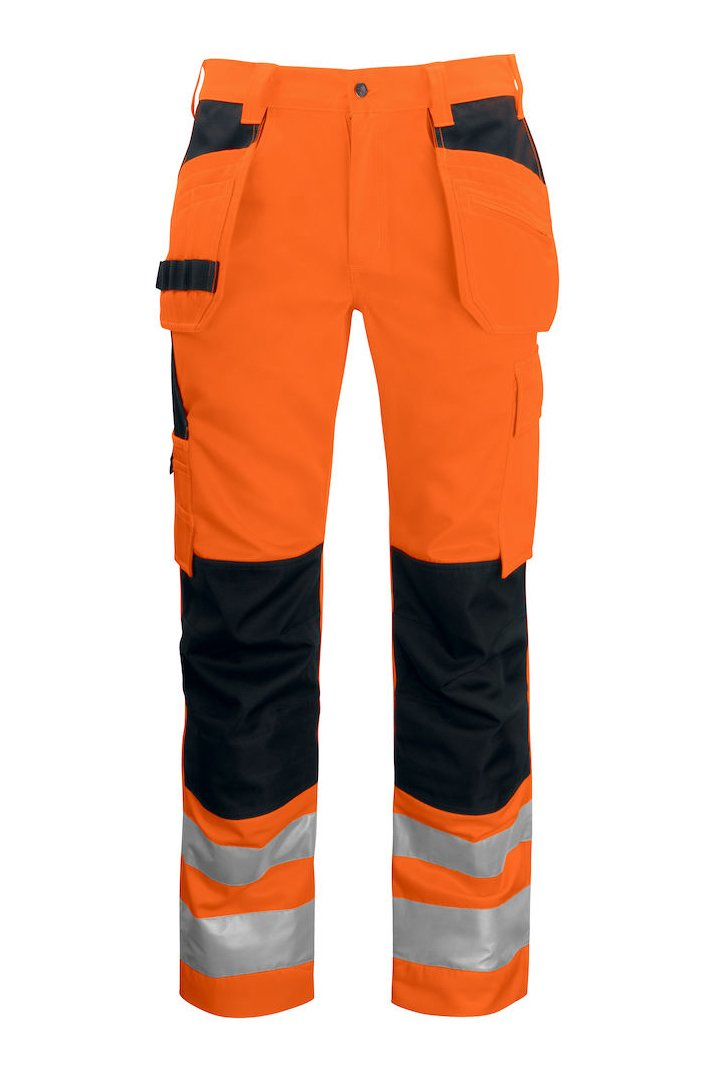 Warnschutz Arbeitshose mit Knieverstärkung und Hängetaschen EN ISO 20471 Klasse 2, gelb/marineblau