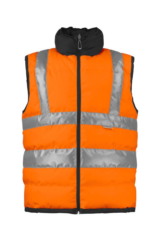 Gefütterte Warnschutz-Weste EN ISO 20471 Klasse 2, orange/schwarz