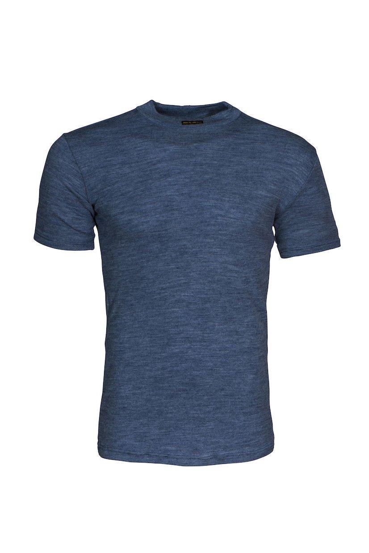 Flammhemmendes Kurzarmshirt, blau meliert