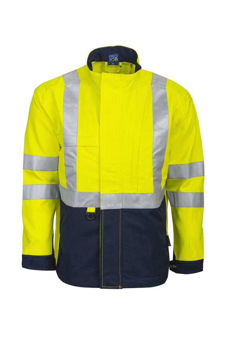 Flammhemmende Warnschutz-Jacke EN ISO 20471 Klasse 3, gelb/marineblau