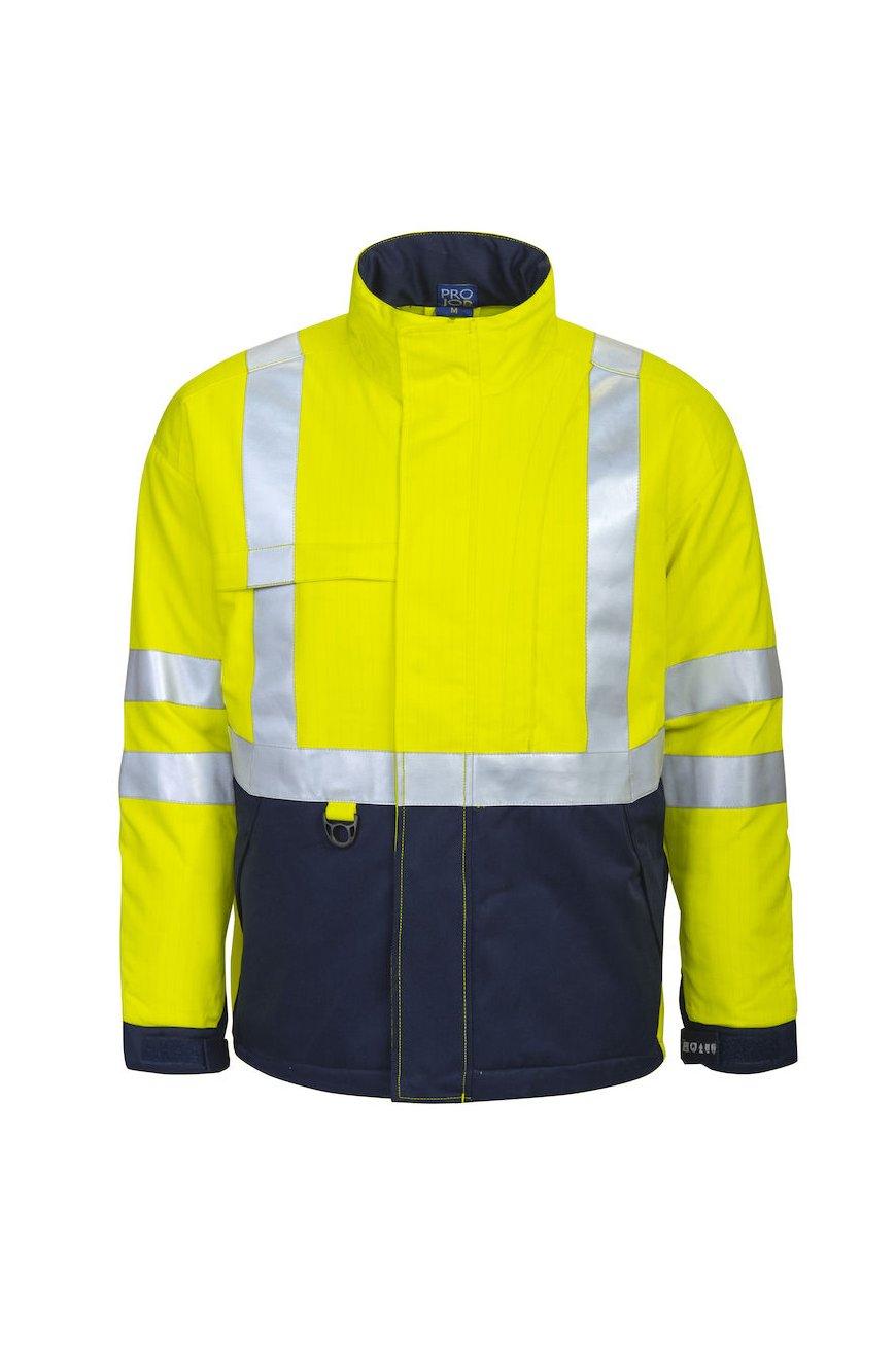 Gefütterte, flammhemmende Warnschutz-Jacke EN ISO 20471 Klasse 3, gelb/marineblau