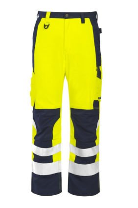 Flammhemmende Warnschutz-Hose EN ISO 20471 Klasse 2, gelb/marineblau