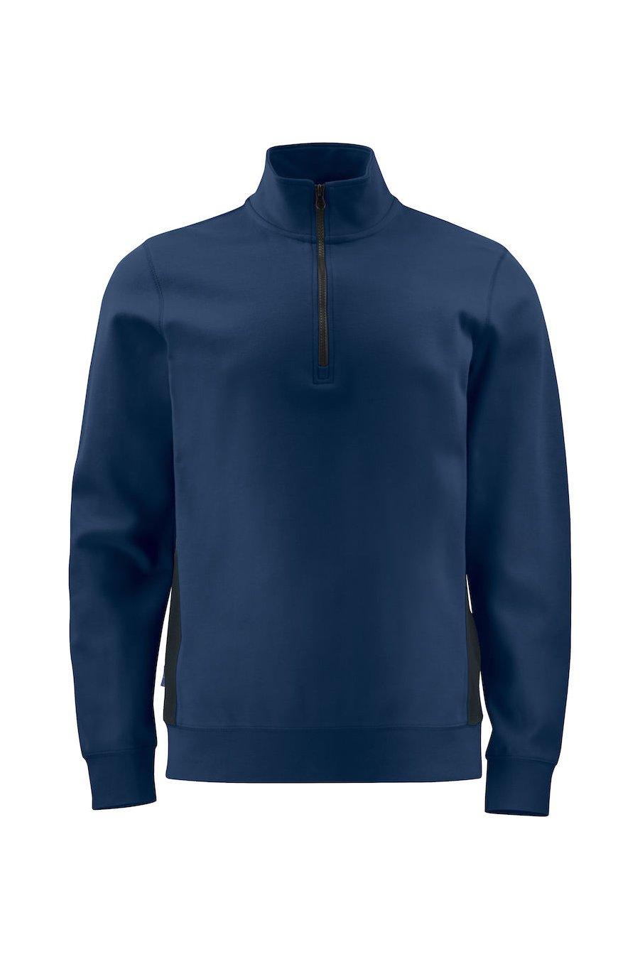 Sweatshirt Half Zip mit Kontrastelementen, schwarz