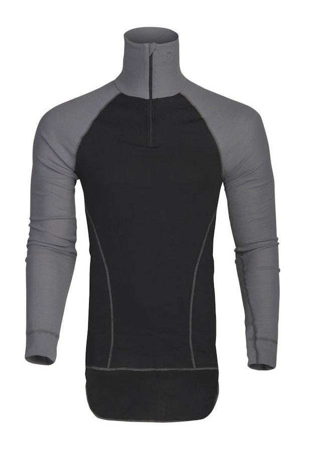 Unterhemd mit Polokragen, schwarz