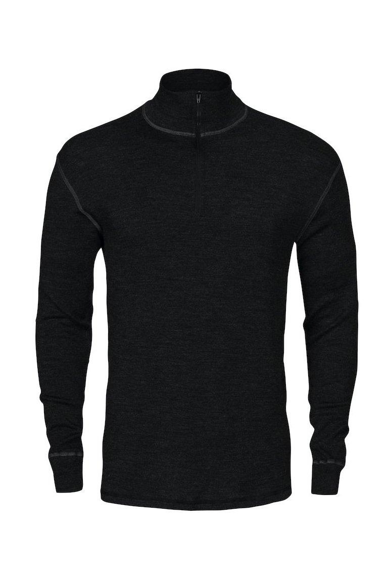 Unterhemd mit Polo aus Merinowolle, schwarz