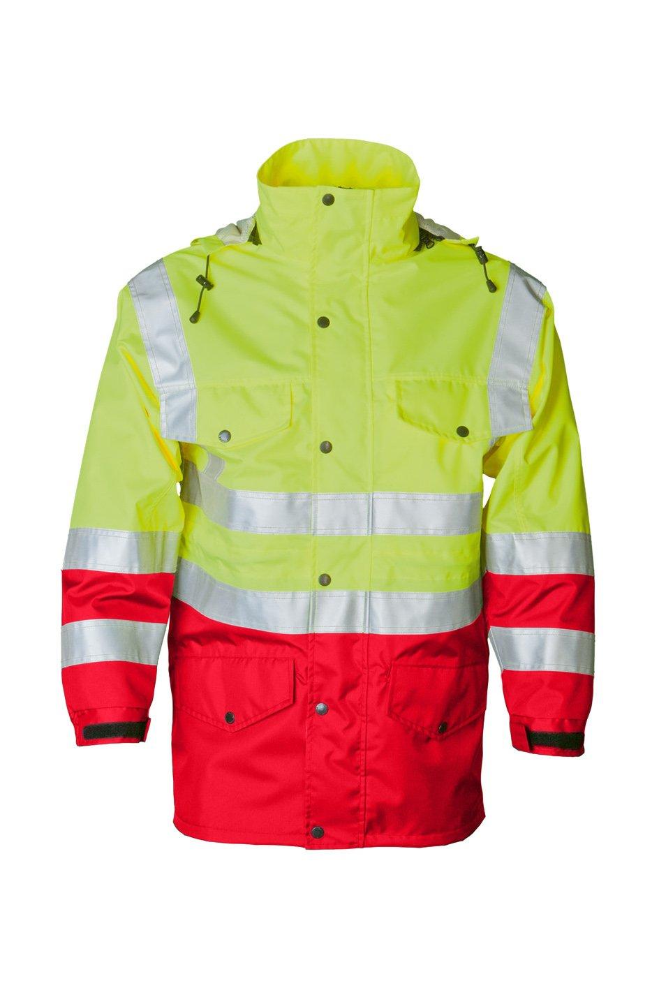 Sicherheitsjacke, fluorescent lemon/red, ISO 20471 Kl. 3