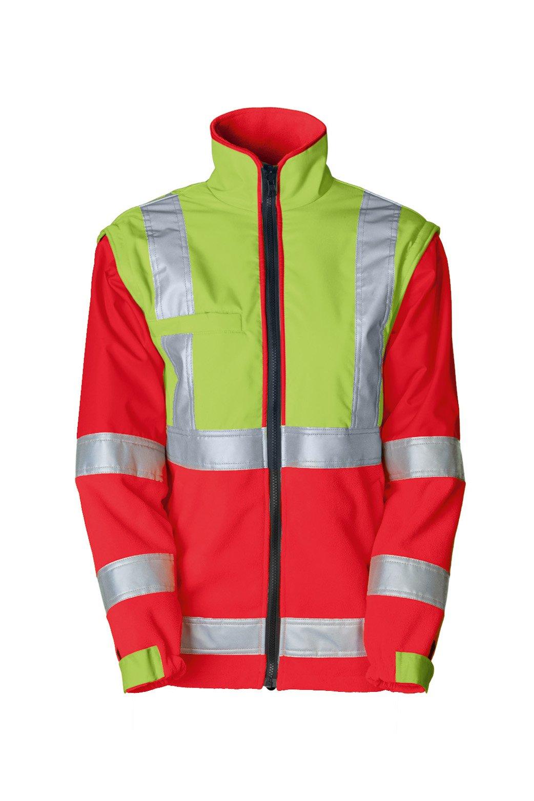 Sicherheitsfleecejacke, fluorescent lemon/navy, ISO 20471 Kl. 1/2
