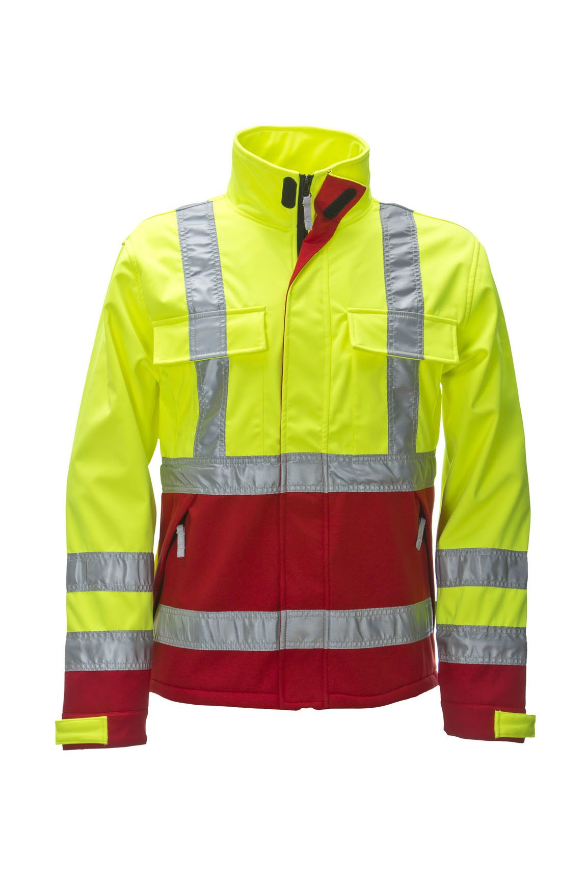 Warnschutz-Softshelljacke, fluorescent lemon/red, ISO 20471 Kl. 2