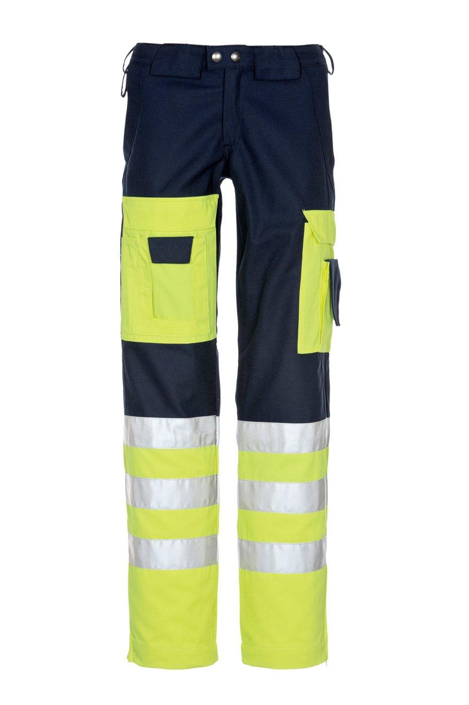 Sicherheitshose, fluorescent lemon/red, ISO 20471 Kl. 2